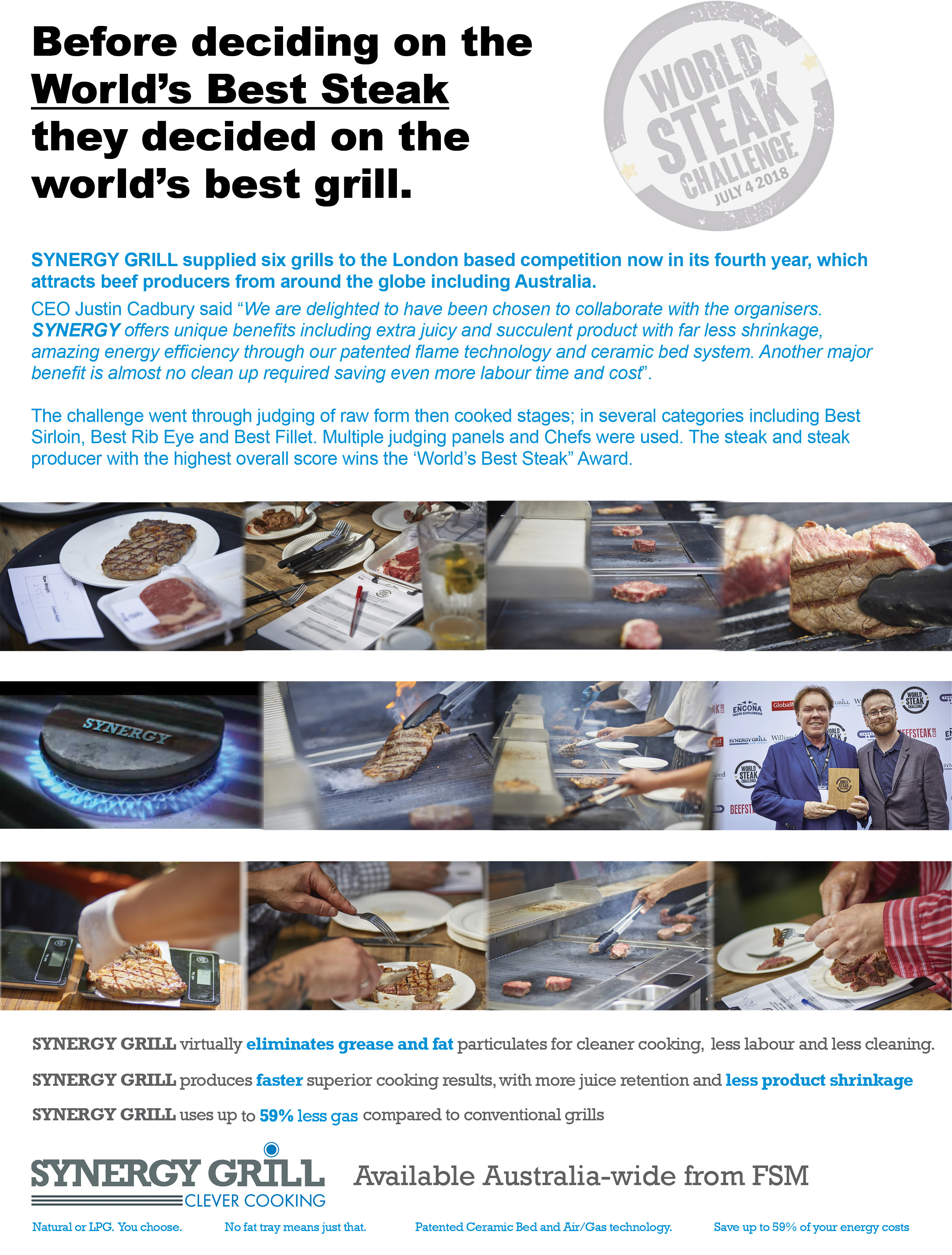SYNERGY GRILLS USED TO DECIDE THE WINNER OF THE WORLD'S BEST STEAK CHALLENGE 2018